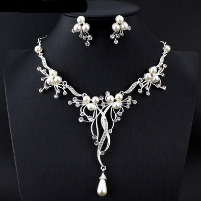 Faux Pearl Crystal Rhinestone Drop Necklace Set