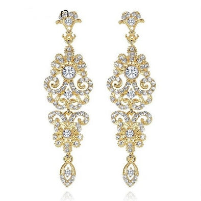 Elegant Gold Crystal Drop Earrings