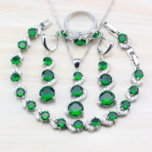 925 Sterling Silver 4 Piece Jewelry Set - 7 Colors