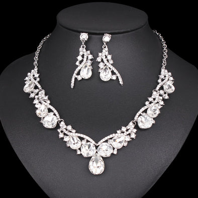Water Drop Crystal Necklace Set