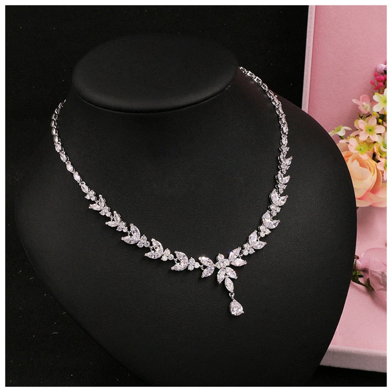 Luxe Crystal CZ Necklace Clip On Earring Set