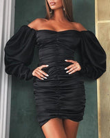 Sexy Cocktail Short Long Puff Sleeves Sleeves Off the Shoulder Belted Ruched Collared Sweetheart General Print Pencil-Skirt Party Dress