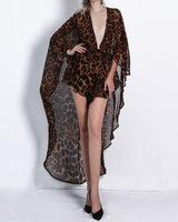 Sexy Animal Leopard Print Polyester Batwing Sleeves Club Dress/Romper/Jumpsuit