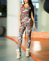 Sexy Polyester General Print Floor Length Bodycon Dress/Club Dress/Romper/Jumpsuit