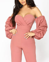 Sexy Polyester Off the Shoulder Slit Pleated Club Dress/Romper/Jumpsuit