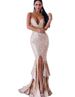 Sexy A-line V-neck Natural Waistline General Print Polyester Sleeveless Backless Sequined Club Dress/Maxi Dress