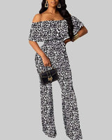 Sexy Animal Leopard Print Floor Length Polyester Off the Shoulder Club Dress/Romper/Jumpsuit