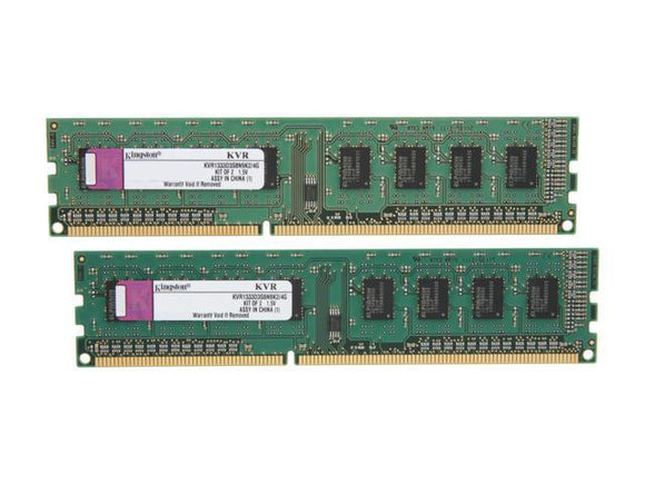 KVR1333D3S8N9K2/4G Kingston 4GB Kit (2 X 2GB) PC3-10600 DDR3-1333MHz non-ECC Unbuffered CL9 240-Pin - Rebuild IT