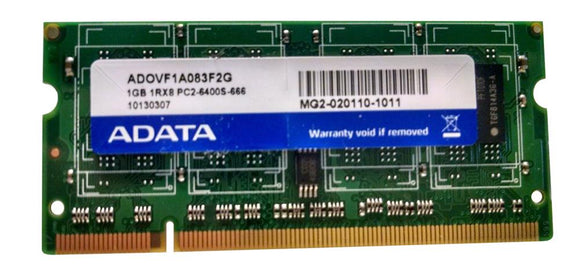 ADOVF1A083F2G ADATA 1GB PC2-6400 DDR2-800MHz non-ECC Unbuffered CL6 200-Pin SoDimm - Rebuild IT