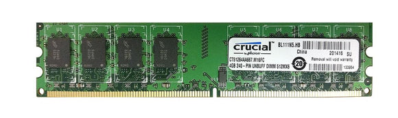 CT51264AA667.M16FC Crucial 4GB PC2-5300 DDR2-667MHz non-ECC Unbuffered CL5 240-Pin DIMM - Rebuild IT