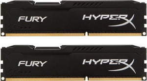 HX426C15FBK2/8 Kingston HyperX FURY Black Series 8GB Kit (2 X 4GB) PC4-21300 DDR4-2666MHz non-ECC Unbuffered CL15 (15-17-17) 288-Pin DIMM 1.2V