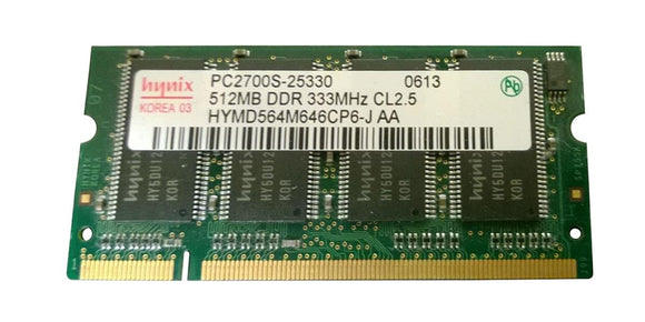 HYMD564M646CP6-J-AA Hynix 512MB PC2700 DDR-333MHz non-ECC Unbuffered CL2.5 200-Pin