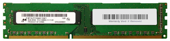 MT16JTF1G64AZ-1G6E1 Micron 8GB PC3-12800 DDR3-1600MHz non-ECC Unbuffered CL11 240-Pin - Rebuild IT