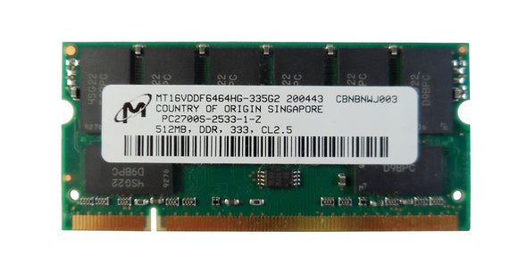 MT16VDDF6464HG-335G2 Micron 512MB PC2700 DDR-333MHz non-ECC Unbuffered CL2.5 200-Pin SODIMM Memory Module - Rebuild IT