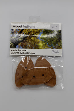 Package of 3 Beech Wood Buttons