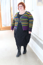 Load image into Gallery viewer, model wearing a striped cardigan