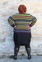 Load image into Gallery viewer, model wearing striped cardigan (back)