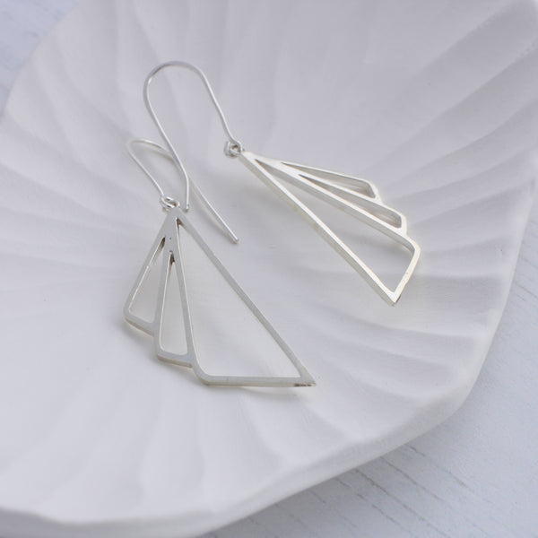 Silver Art Deco Dangle Earrings