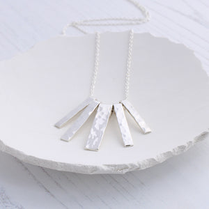 Silver hammered fringe necklace