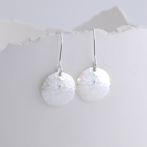 Hammered Disc Dangle Earrings