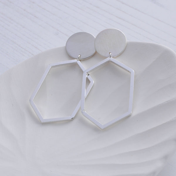 Geometric Hexagon dangle earrings