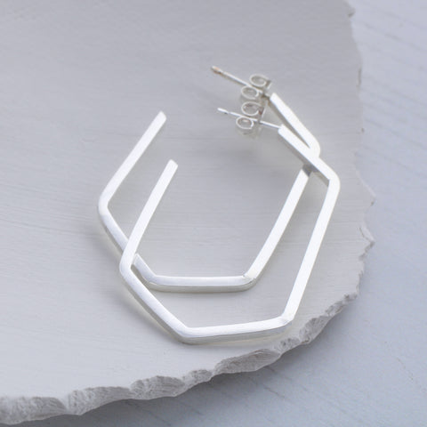 Geometric hexagon hoop earrings