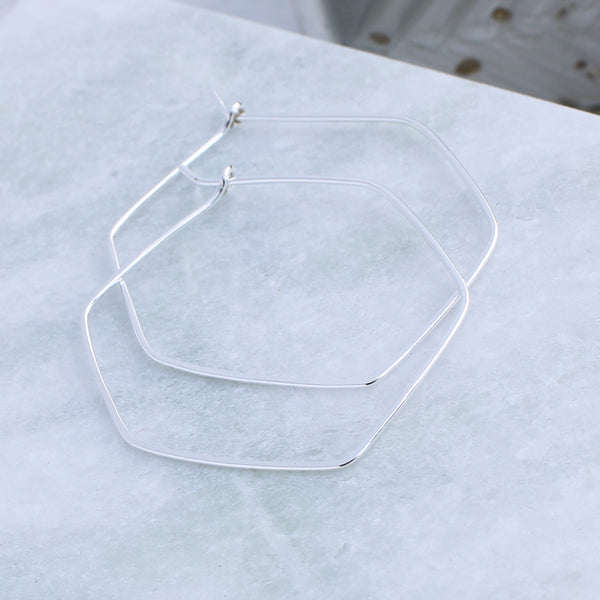 Hexagon thin hoop earrings
