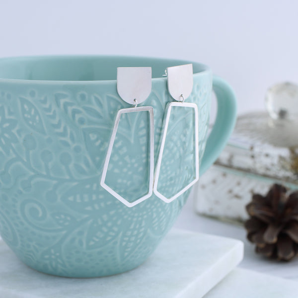 Geometric pentagon dangle earrings
