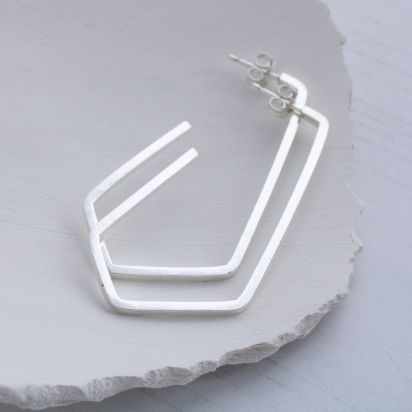 Geometric Pentagon hoop earrings