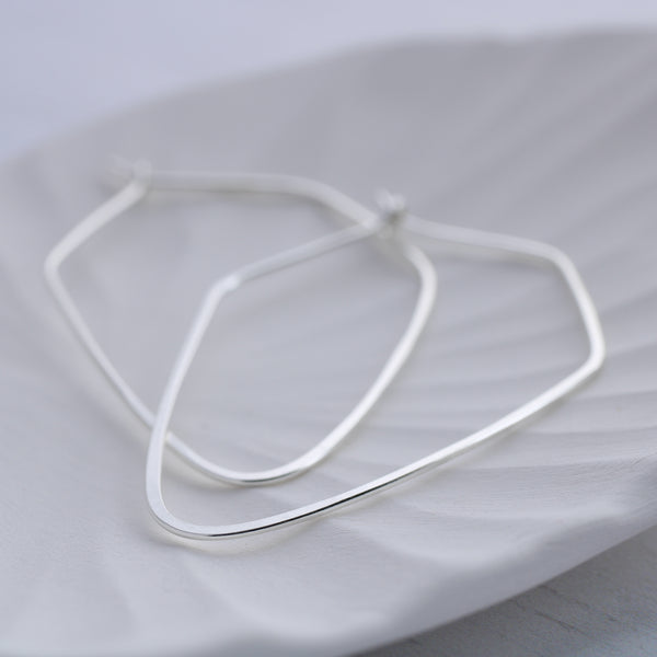 Pentagon thin silver hoop earrings