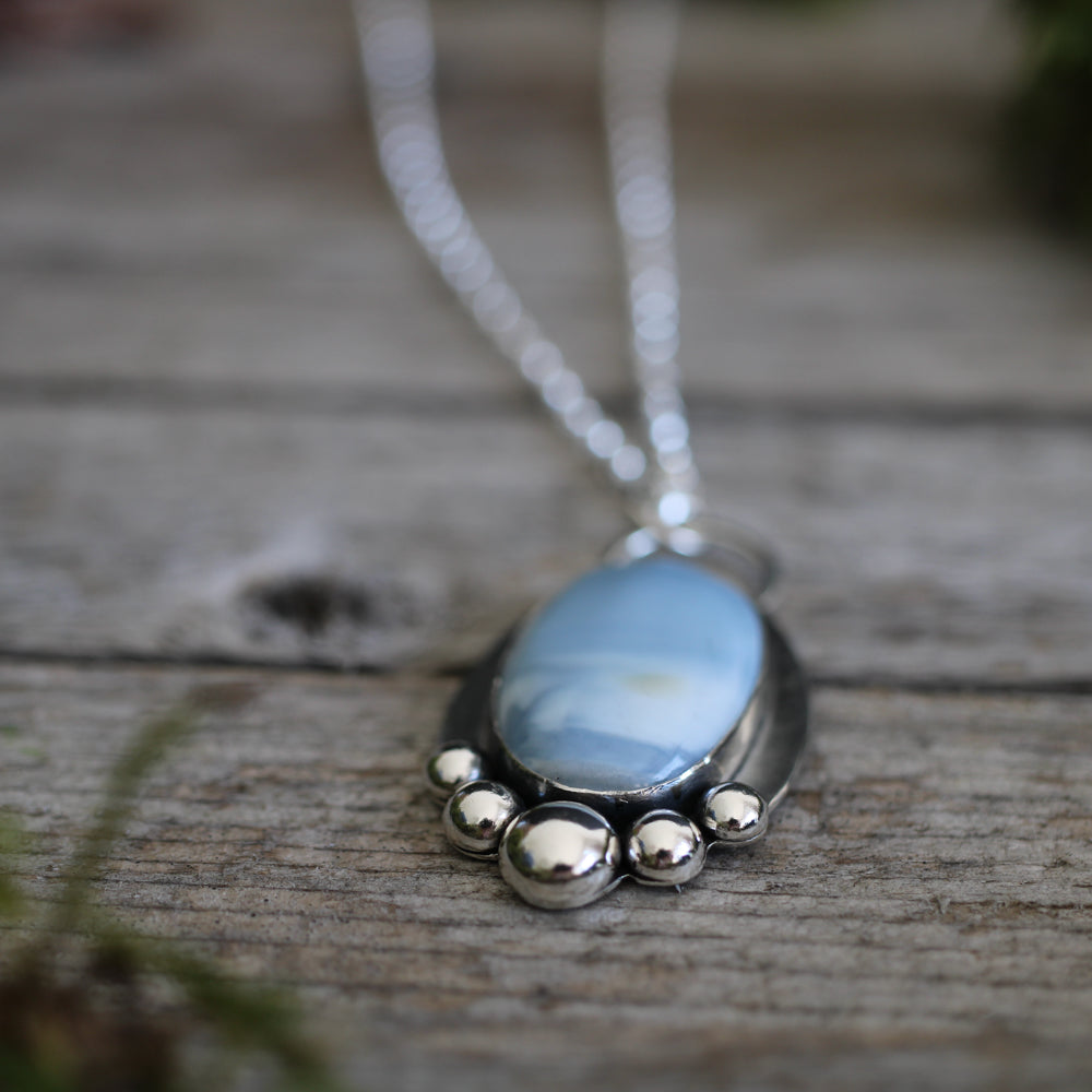 Blue Opal Pendant with beaded detail