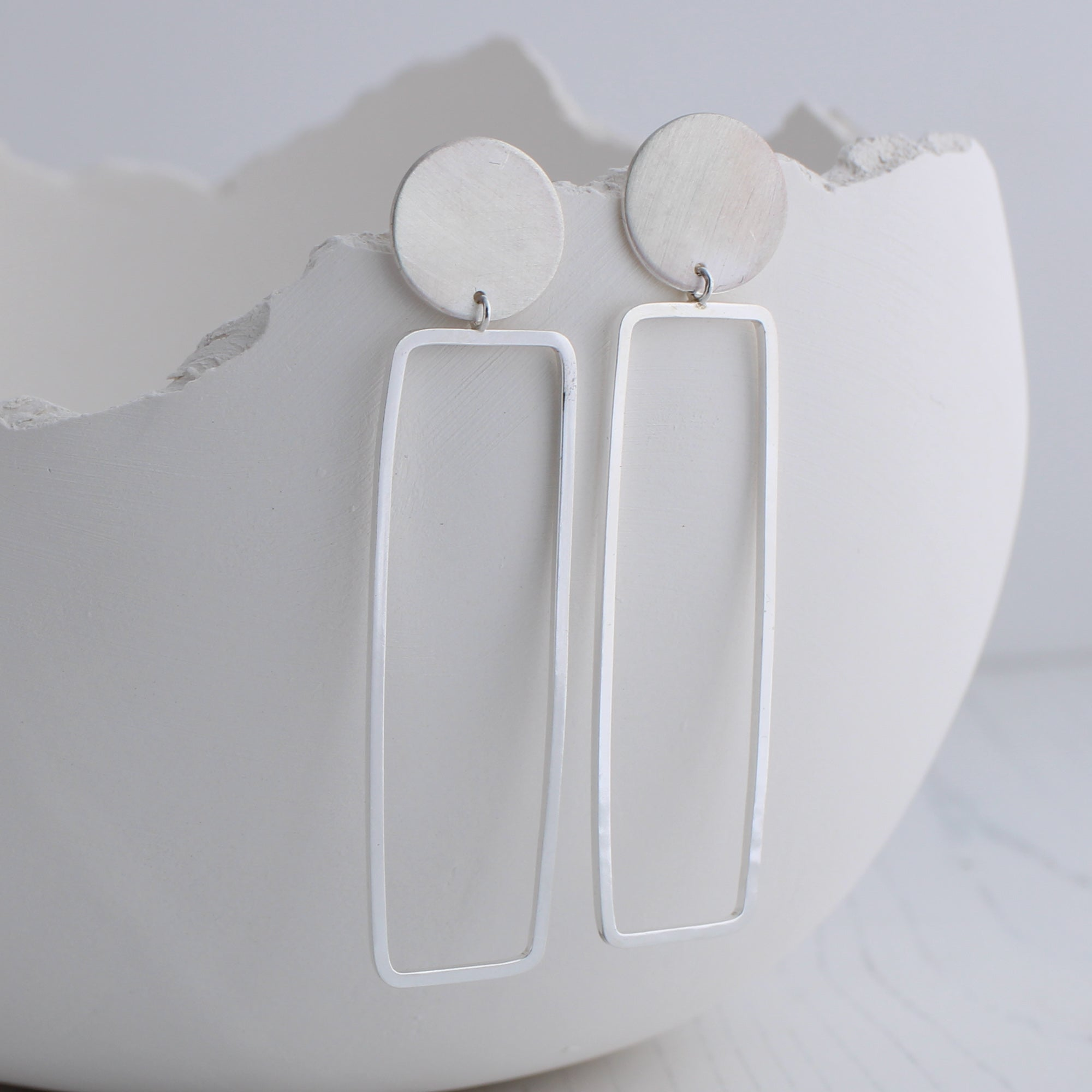 Geometric rectangle dangle earrings