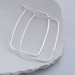 Rectangle thin silver hoop earrings