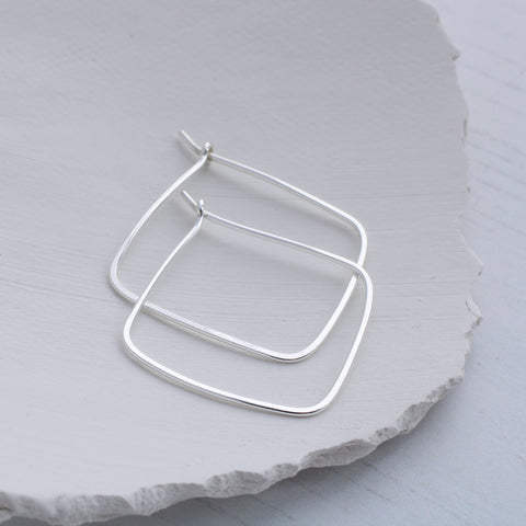 Square thin silver hoop earrings