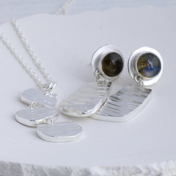 Labradorite and Silver River Earrings with matching necklace