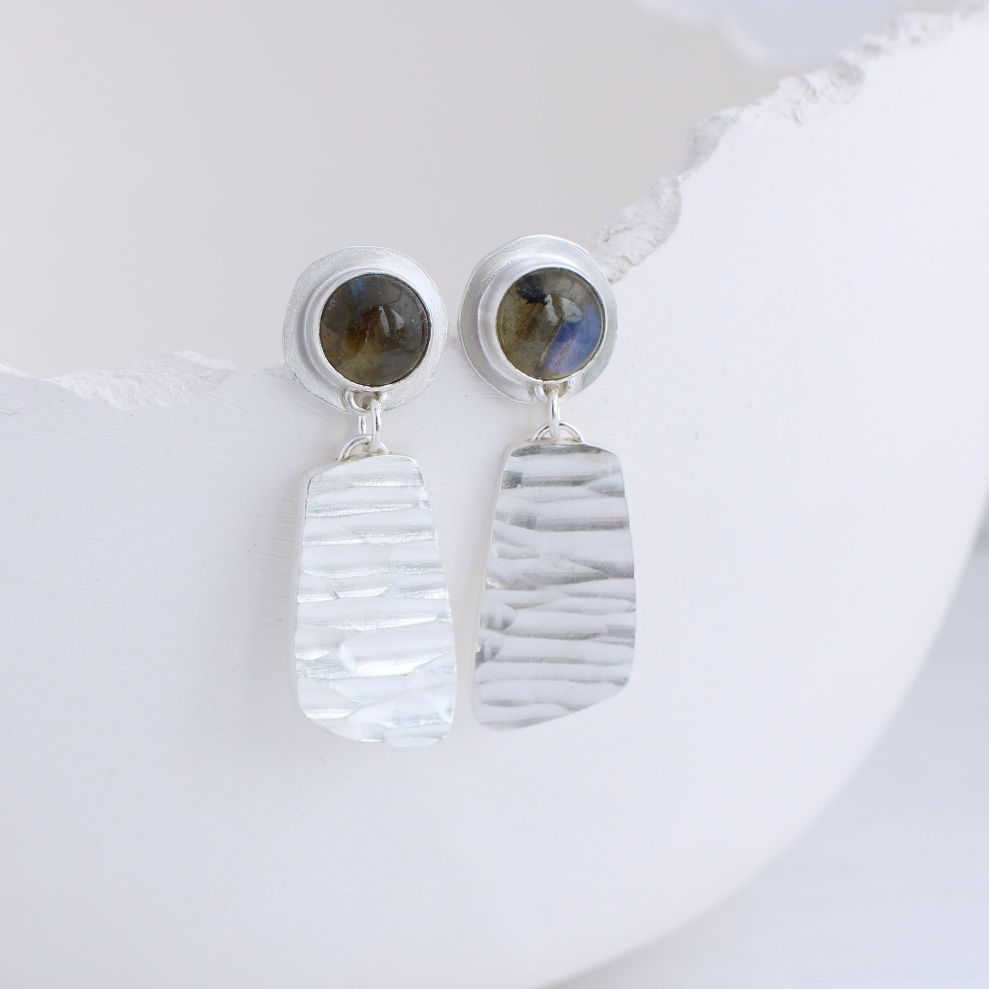 Labradorite and Silver River Earrings