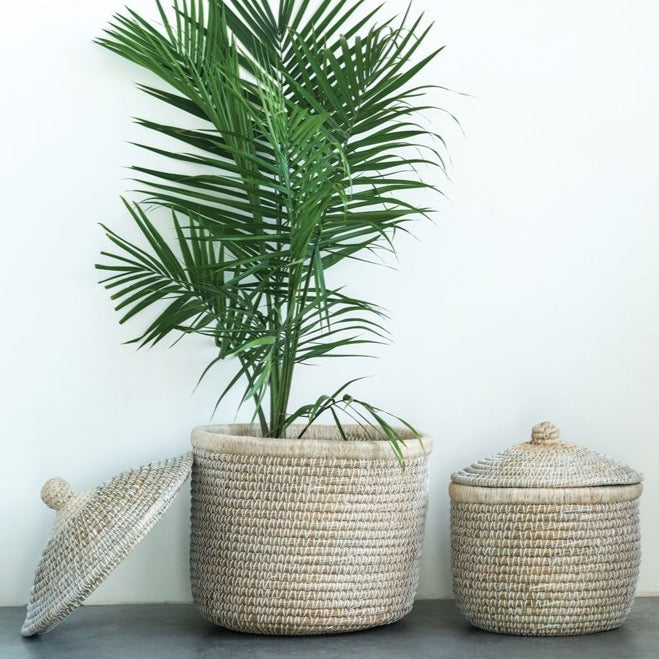 Lidded Seagrass Baskets (Set of 2)