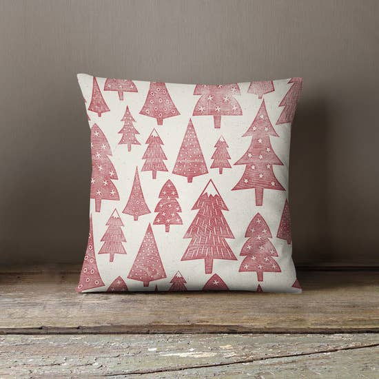 Red Christmas Trees Pillow