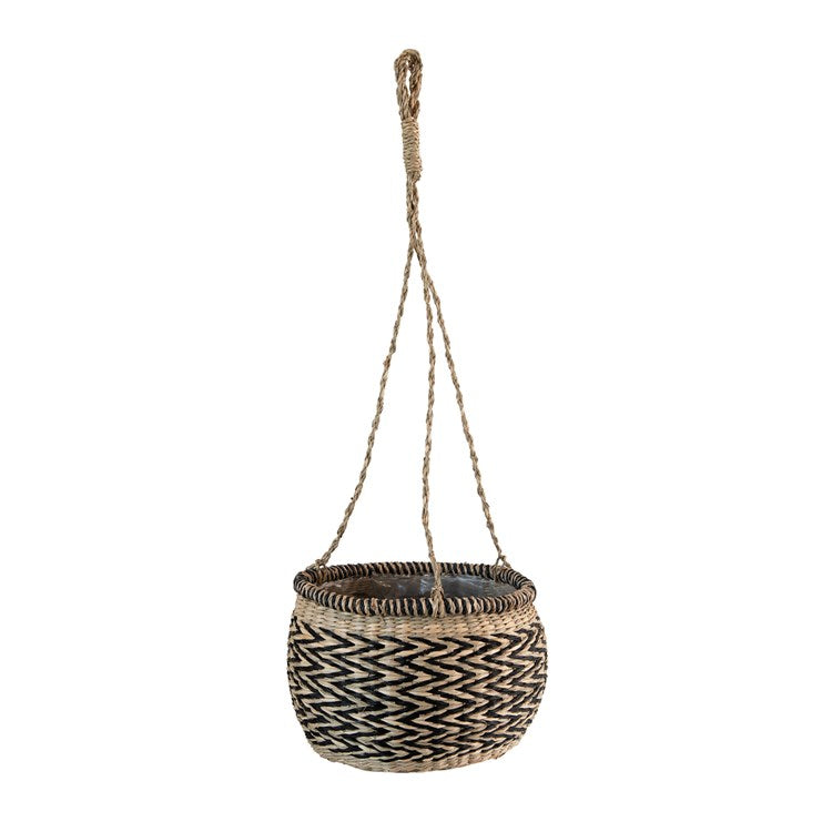 Hand-Woven Hanging Seagrass Basket Planter