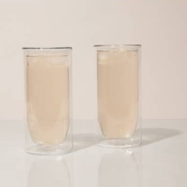 Double-Wall Clear Glass Set - 16 oz.