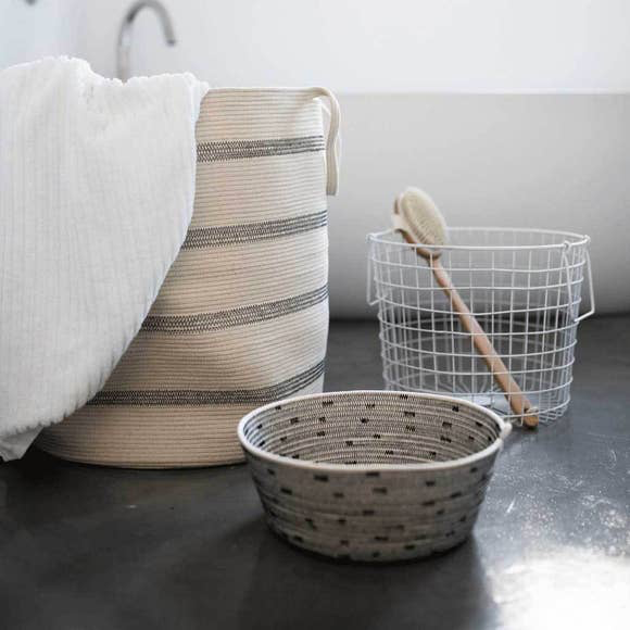 Stitched Cotton Floor Basket + Tassel