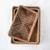 Rattan Tray with Multicolored Stitching (Set of 3)