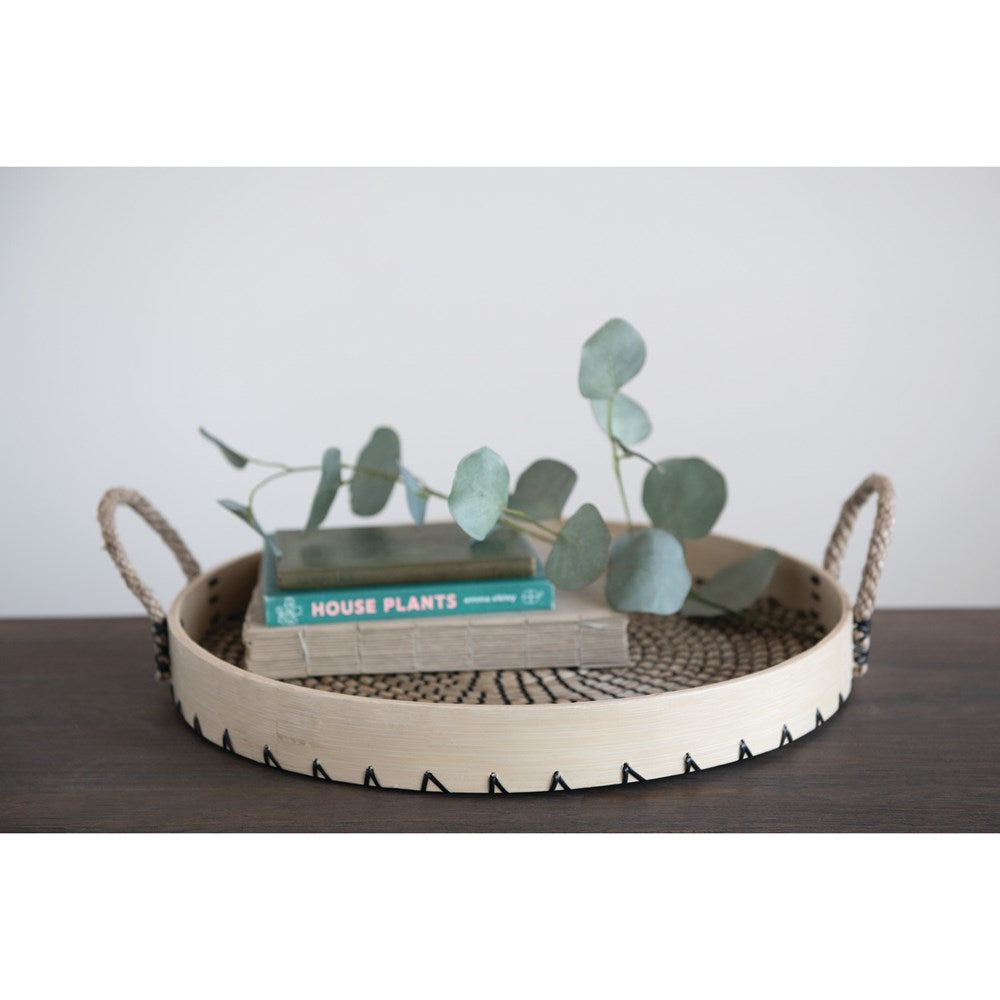 Round Seagrass and Bamboo Tray with Handles, 17.75""