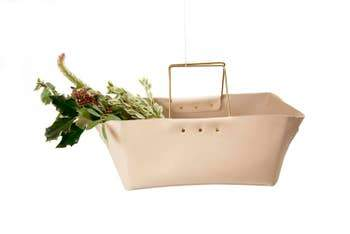 Brass Handle Leather Basket - May Wynn
