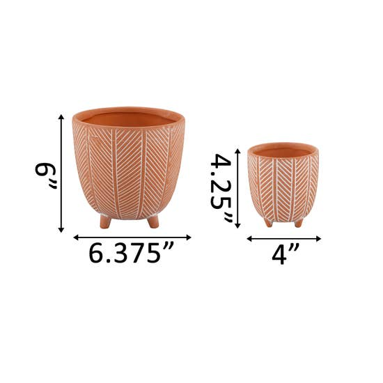 Chevron Footed Planter
