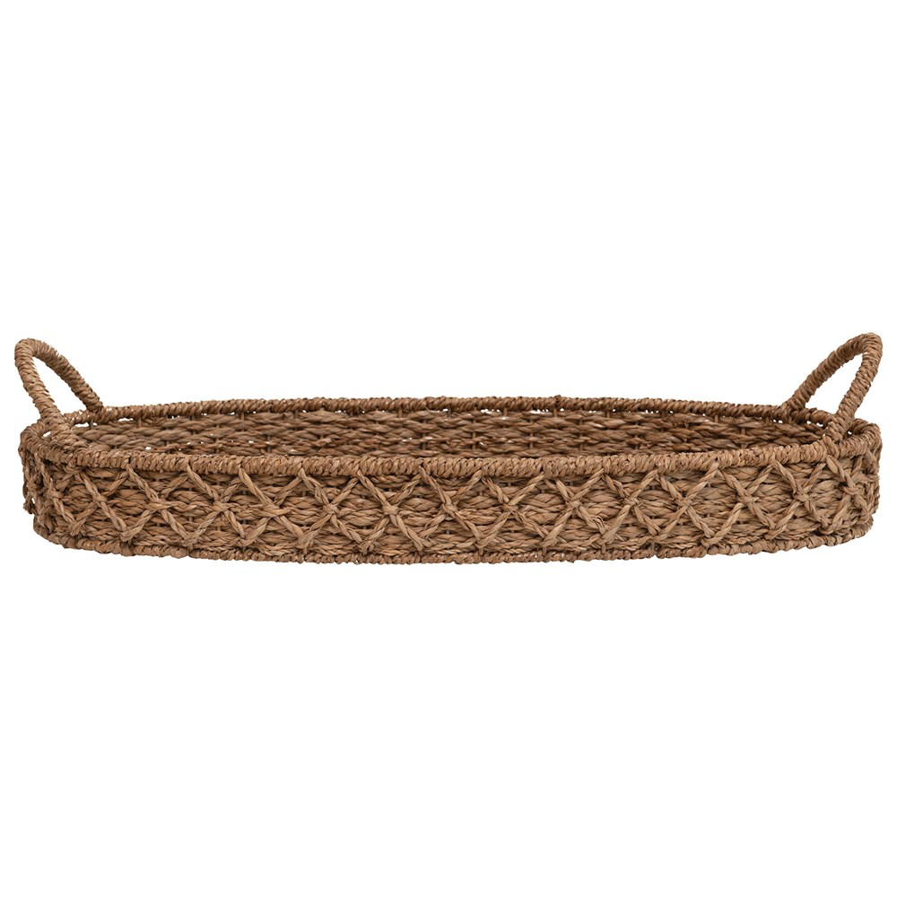 woven oval seagrass tray with handles