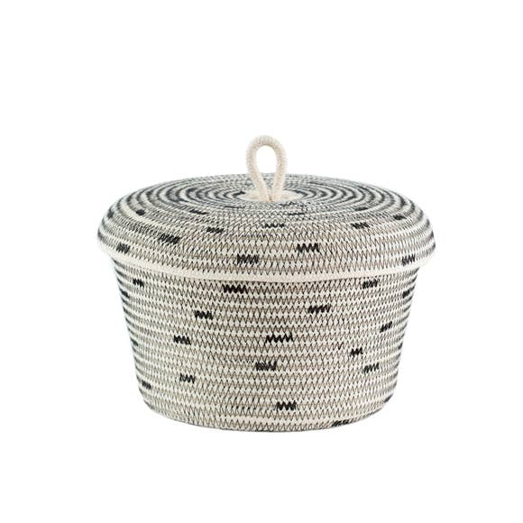 Stitched Black Lidded Basket
