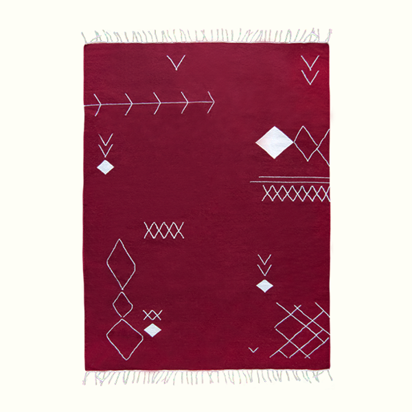 Burgundy Scattered Stitch Kilim Rug