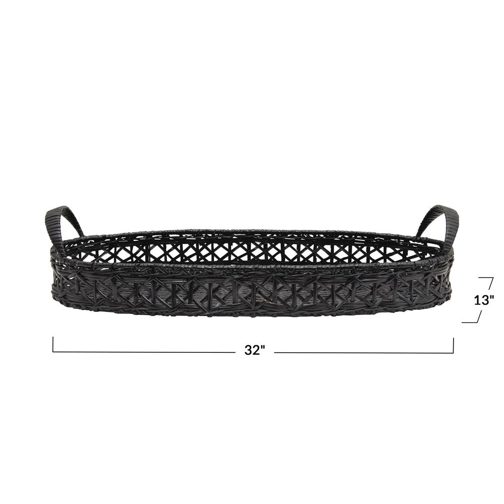 black rattan tray with handles rectangular
