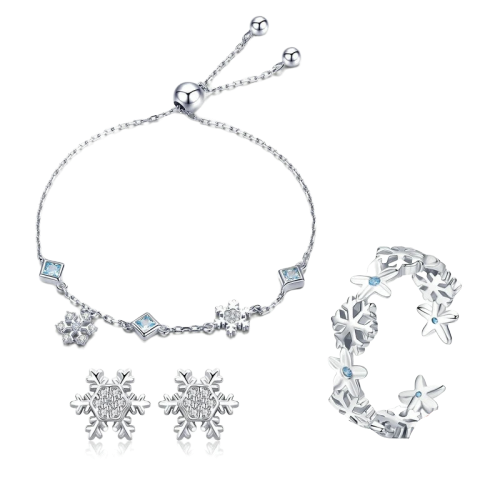 Sterling Silver Jewellery Set - BSE009+BSB001+BSR015